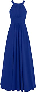 Bridesmaid Gown Prom Party Dresses Chiffon Halter Sleeveless Ruched Floor Length