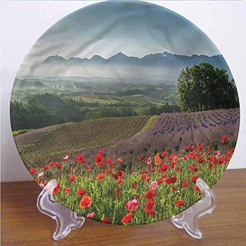 Channing Southey 8 Inch Flower Customized Dinner Plate Lavender Farm Morning Round Porcelain Ceramic Plate Decor Accessory for Pasta, Salad,Party Kitchen Home Decor