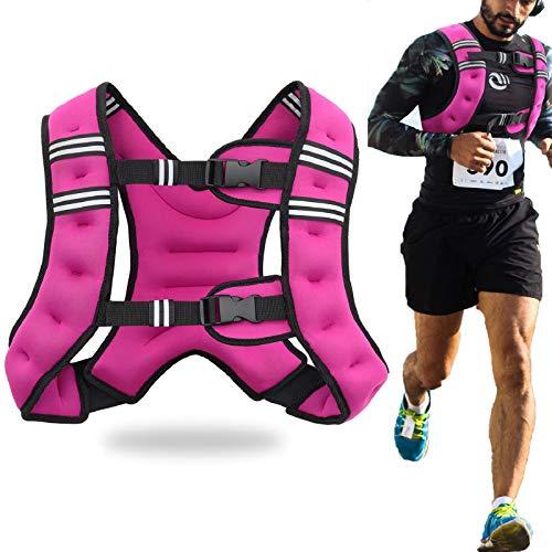 Jolitac Gewichtsweste für Herren, 4,5 kg, 7 kg, Krafttraining, Gewichtswesten mit reflektierenden Streifen und Tasche, für Kinder, Laufen, Gewichtetes Workout-Equipment, violett, 10lbs