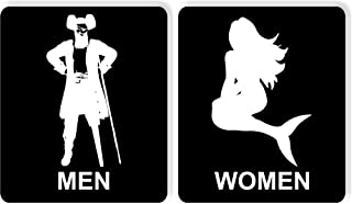 Joycenie New Metal Aluminum Sign Funny Bathroom Sign Restroom Sign Pirate Mermaid Seafood Decor Novelty Art Sign for Indoor Outdoor Wall Decoration Tin Sign 8x12 Inch
