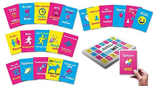 Videokonferenz-Karten Moderationskarten 22 Motive auf 11 Premium Videokonferenz Karten KonferenzKIT Präsentation Zubehör deutsch