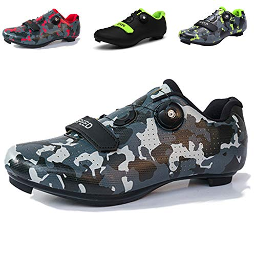 Mens Cycling Shoes, Road Bike Cycling Shoes for Men, Breathable Non-Slip Road and Mountain Bike Shoes, Bike Shoes with SPD and Delta Cleats Lock Pedal, Road Cycling Riding Shoes Camo Grey