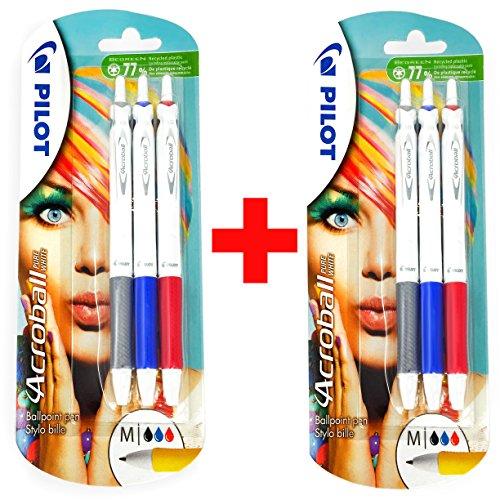 Pilot Acroball–Bolígrafo retráctil de punta–tamaño mediano 1,0mm–2x Paquetes de 2unidades, color negro, azul y rojo (6bolígrafos)