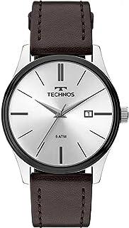 Relógio Analógico Technos Steel Masculino com Pulseira de Couro Marrom