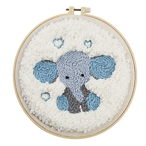 Haoun DIY Rug Hooking Kit, Handcraft Woolen Embroidery Starter Colorful Yarn Pattern Latch Hook Kit with Punch Needle and Embroidery Frame, Creative Craft Gift Decor - Elephant