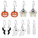 WYDM 5 Paar Halloween Thema Ohrringe Set Legierung Tropfen Ohrringe mit Kürbis Spinnennetz Fledermaus Ghost Design für Frauen Mädchen