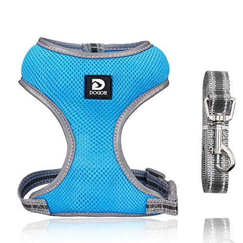 Puppy Harness and Leash Set - Dog Vest Harness for Small Dogs Medium Dogs- Adjustable Reflective Step in Harness for Dogs - Soft Mesh Comfort Fit No Pull No Choke (M, Light Blue)