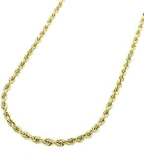 گردنبند طناب زنجیری طناب 10K طلای 2 میلیمتر 3 میلیمتر 4 میلیمتر - گردنبند زنجیره ای پیچ خورده بافته ، گردنبند طلای 10K ، زنجیره طلای 10 عیار ، اندازه 16-30
