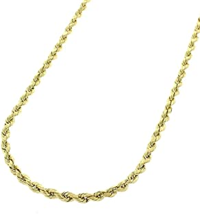 10K Gold 2MM 3MM 4MM Diamond Cut Rope Chain Necklace for Men and Women- Braided Twist Chain Necklace, 10K Gold Necklace, 10 Karat Gold Chain, Sizes 16-30