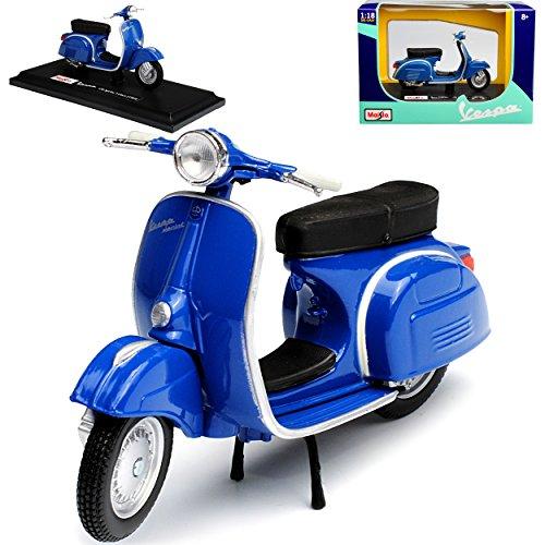 Maisto Vespa 150 Sprint Veloce Blau 1969 mit Sockel 1/18 Modell Motorrad mit individiuellem Wunschkennzeichen