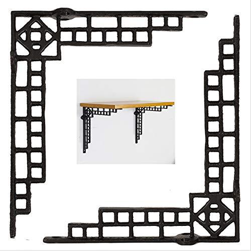 Liyijiestore Retro- Wandkonsole Dreieckig Regalträger(2 STK.),Gusseisen,L-förmige 90 °rechtwinklige Regalwinkel for Wohnzimmer,Schlafzimmer, Bücher (18,5×21,5cm/schwarz)
