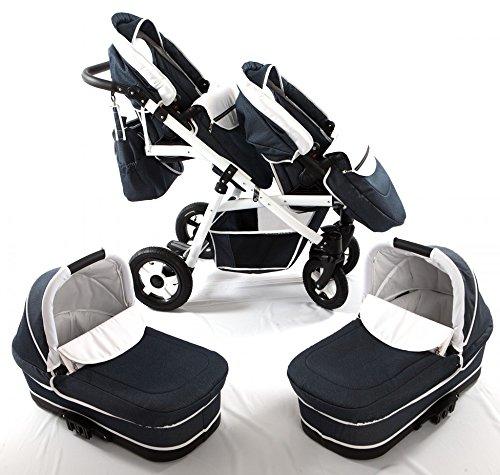 Zwillingswagen. 2 x Buggy, 2 x Babywanne