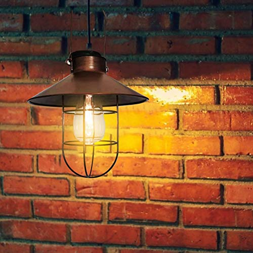 Solar Retro Laterne, Außen Hängend Metall dekorative Lichter, Garten Solarleuchten mit Edison Glühbirne, Wasserdichtes solarbetriebenes Licht für die Veranda Weg Terrasse Hof, IP65 Wasserdicht