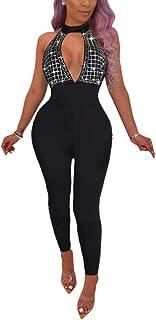 Womens Sexy Backless Halter Deep V Neck Jumpsuit Sleeveless Rhinestone Clubwear