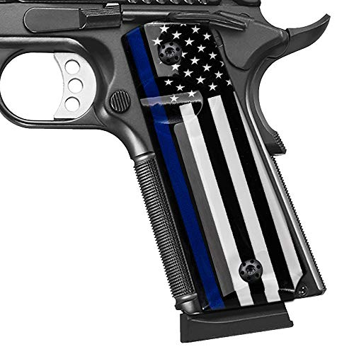 Cool Hand 1911 Full Size Grips with Blue Line US Flag, Government/Commander, Screws Included, High Polished Acrylic, Ambi Safety Cut