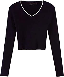 Women's Casual Sexy Warm Long Sleeve V Neck Slim Fit Pullover Jumper Knitted Loose Crop Tops Sweater