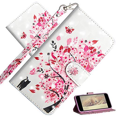 COTDINFOR Compatible with Samsung Galaxy S21 Ultra Hülle 3D Painted Cover Flip Schutzhülle Handy Tasche Schale mit Magnet Standfunktion Etui für Galaxy S30 Ultra / S21 Plus Flower Tree Cat YX.