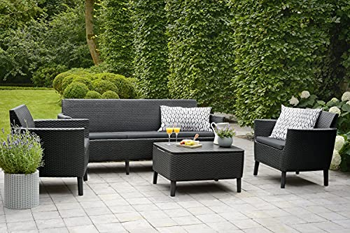 Keter Salemo Garden Furniture Set 3 Seater Sofa 2 Chair and Table in Graphite