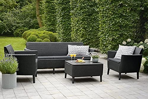 Keter Salemo - Juego de muebles de jardín (3 plazas, 2 sillas y mesa), color grafito