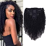 Curly Clip In Extension Human Hair 3C 4A Kinky Curly Clip Ins Full Head for Black Women Brazilian Remy Human Hair Natural Color 8Pcs with18clips 120g/Set (20 inch, curly wave)