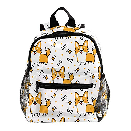 School Backpack Lightweight Schoolbag Travel Camp Outdoor Daypack,White Corgis