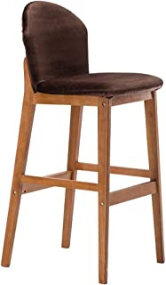 Barstool Kitchen Breakfast Chair Dining Chair Wooden Retro Style Bar Stool High Stool Front Desk Chair Sitting Height 75cm Brown (Color : #1)