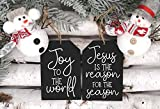 Joy To The World Christmas Ornament 2 Piece Set, Farmhouse Wooden Tag Shaped Ornament, Holiday Tiered Tray Decor