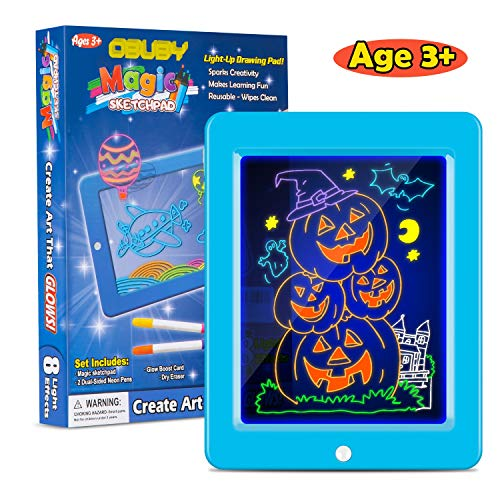 Obuby Kids Magic Pad Light Up Glow Drawing Board LED Draw Sketch Tablet for Art Write Learning which Includes Fun Guide Stencils, Glow Boost Card, Cleaning Cloth.