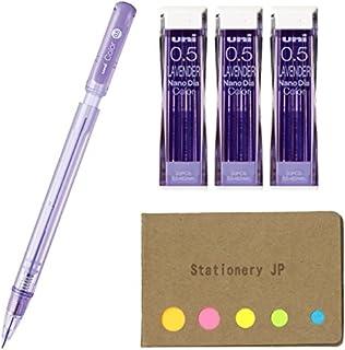 Uni Color Mechanical Pencil 0.5mm Lavender & NanoDia Color Mechanical Pencil Leads 3-Pack/Total 60 Leads, Sticky Notes Val...