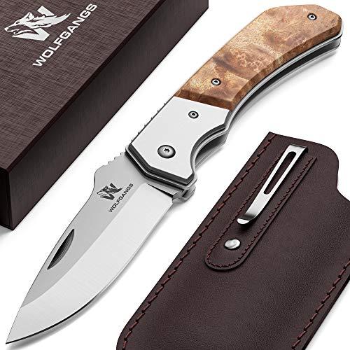 Wolfgangs MUTATIO Zweihand Klappmesser aus feinstem 440C Stahl - Outdoor Messer mit hochwertigem Wurzelholz Griff - Das perfekte Survival Messer oder Camping Messer - inkl. Echt-Leder Gürteltasche