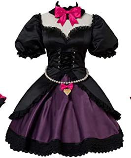 Over and Watch D.Va Song Hana Black Cat Skin Ver. Lolita Dress Cosplay Costume+Ears