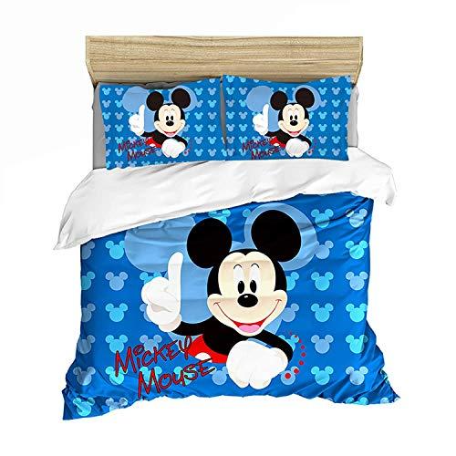 QWAS Disney - Biancheria da letto, motivo Topolino, adatta per adulti e bambini (V01,220 x 240 cm + 80 x 80 cm x 2)