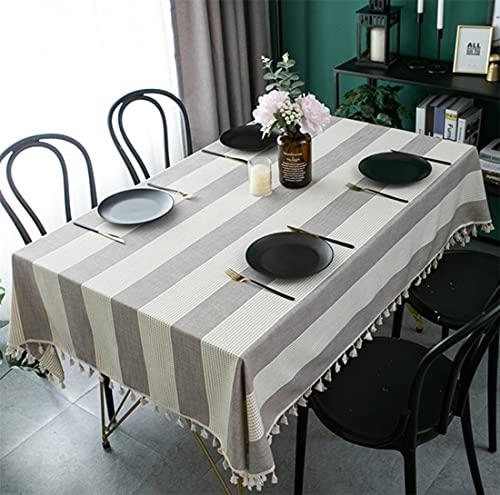 laokudy Mantel para el hogar con borlas Marrones, Mantel Suave para Fiestas, Mantel, Mantel, Mantel para Exteriores, Alfombrilla de algodón, decoración de Escritorio, 140 * 200 cm