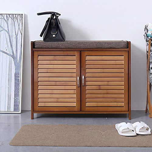 Yingm Schuhständer Schuh Hocker aus Holz Schuhschrank mit Kissen for Eingangshalle Badezimmer Wohnzimmer High Density Blatt Flur Schrank Lagerung (Farbe : A, Size : 69X35X54 cm)