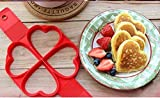 Yissma Nonstick - Molde de silicona con forma de torta con 4 agujeros, forma de flor, forma de corazón opcional para tortitas y gofres