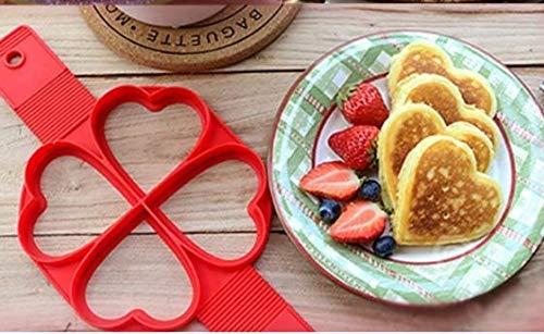 Santity Bakvorm van siliconen in hartvorm met 4 gaten, antiaanbaklaag voor tortilla, wafelvorm, om te knutselen