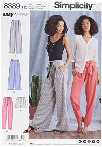 Simplicity Schnittmuster 8389 Damenhose mit Längen- und Breitenvarianten und Bindegürtel, Papier, weiß, 22 x 15 x 1 cm