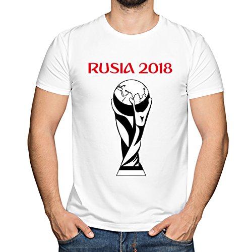 Camiseta Divertida para Amantes del fútbol. Regalos para futboleros. ('Copa Mundial' - Blanco, L)