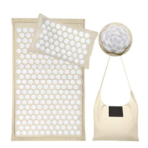 Estera de Acupresión Yoga Mat Fitness Masaje Almohada Cusion Con Bolsa Cuerpo Cuello Alivio Del Dolor Acupuntura Mats-White Lotus Thorn