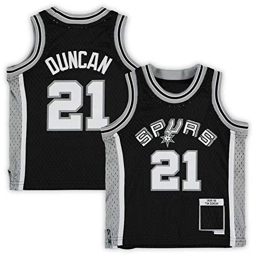 USNN Maglietta da basket personalizzata Tim San Antonio NO.21 Spurs Duncan Mitchell & Ness Infant Retired Player Jersey ad asciugatura rapida Abbigliamento sportivo per bambini - nero
