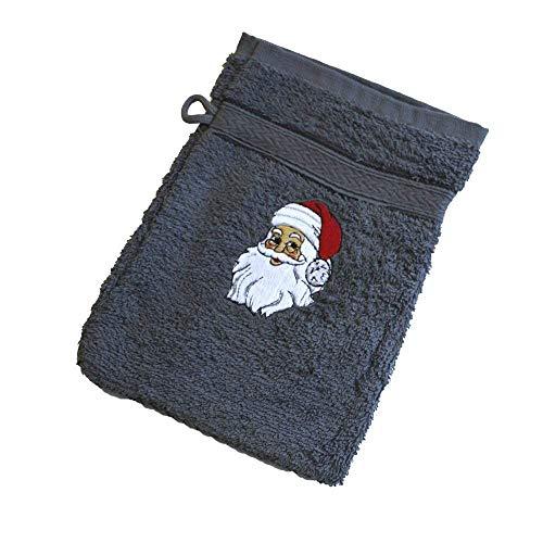 Waschhandschuh Waschlappen Weihnachtsmann Nikolaus 31216 grau - ca 20 x 16 cm