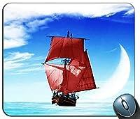 Ship Sky Sky Moon Cloudsマウスパッド、ゲーミング長方形マウスパッド