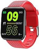 Reloj Inteligente 1.3 Pulgadas Pantalla Fitness Tracker Deportes Podómetro Pulsera Mensaje Push Recordatorio Inteligente IP67 Impermeable 150mAh-Rojo