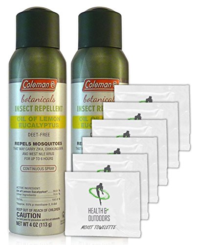 Coleman Botanicals Lemon Eucalyptus Insect Repellent DEET Free - 4oz. Continuous Spray - Pack of 2 - w/ (6) Healthandoutdoor Hand Wipes