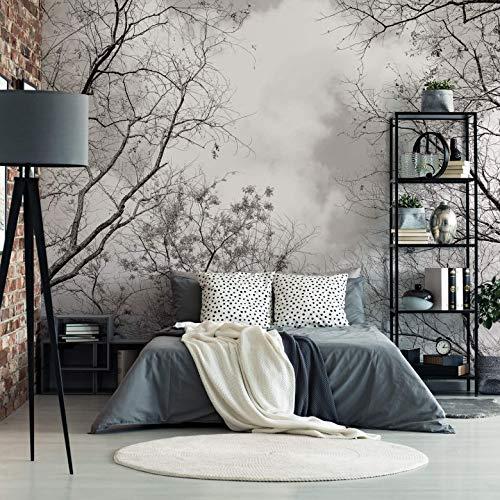 Wald Fototapete Baumkronen im Himmel Natur Klebebilder für die Wand Tapete schwarz weiß Fotografie Wall-Art - 240x260 cm
