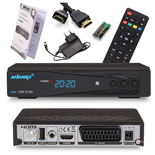 Ankaro 2100 DSR Sat-Receiver - HD Satelliten Receiver mit USB-Mediaplayer Funktion - DVB-S/S2 Receiver für Satellit - Astra & Hotbird vorinstalliert + Anadol HDMI Kabel (Ohne PVR Aufnahmefunktion)