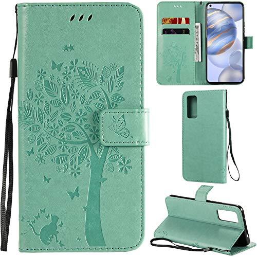 DodoBuy Oppo Find X2 Neo Hülle Katze Baum Muster Flip PU Leder Schutzhülle Handy Tasche Hülle Cover Standfunktion mit Kartenfächer für Oppo Find X2 Neo - Grün