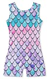 Gymnastics Outfits for Little Young Girls Colorful Mermaid Scale Stretchy Rhythmic Training Leotards 5t 6t Vintage 80s Pageant Ballet Dancewear Decent Biketadrs Underwear with Shorts