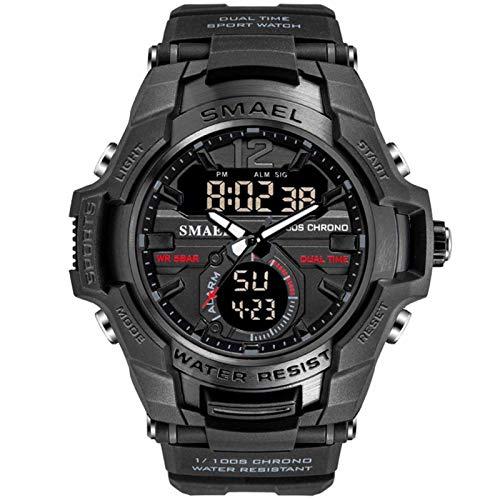 JTTM Relojes Deportivos para Hombre, Resistente al Agua Digital Militares Relojes con Cuenta atrás para los Hombres niños Grandes,LED de analógico Relojes de Pulsera para Hombre,Negro