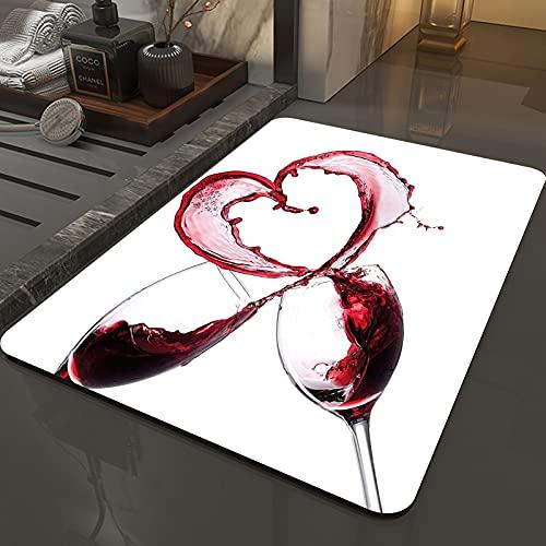 Alfombra Antideslizante Alfombra,Vino, corazón con derramar vino tinto en vasos amor romántico concepto d,Espuma de Memoria Piso Baño Alfombra Absorber Alfombra de baño Suave Alfombra de baño 50x80 cm